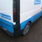 Panel painted in corporate colours, re fitted  to van and final touches carried out